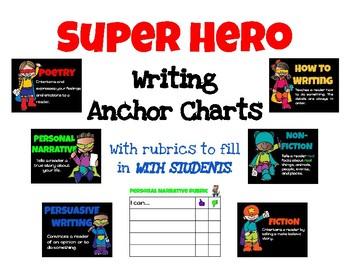 Superhero Writing Anchor Charts with Blank Rubrics