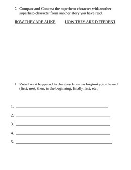 Superhero Story Response Sheet