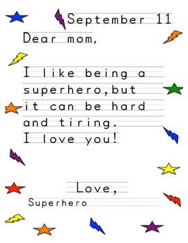 Superhero Writing Samples