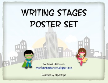Superhero Writing Stages Posters