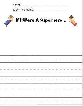 Superhero Writing Worksheet