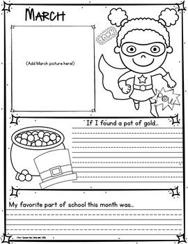 Back to School~Page a Month~Superhero Memory Book~Monthly Photo Booth