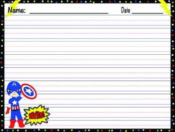 Superhero Zaner Bloser Writing Paper with Superhero Design Theme!