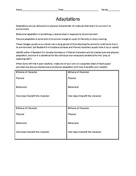 Superhero/Zombie Adaptation worksheet