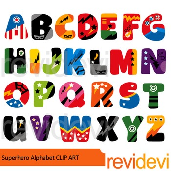 Superhero alphabet clip art