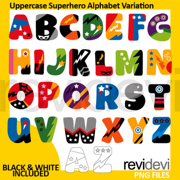 Superhero alphabet clipart / Uppercase Superhero Alphabet Variation