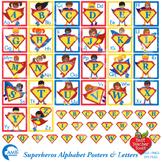 Superhero Alphabet Clipart, Letters Posters, {Best Teacher Tools } AMB-496