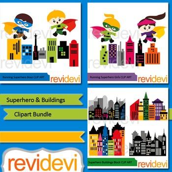 Superhero and Buildings clipart bundle (3 packs)