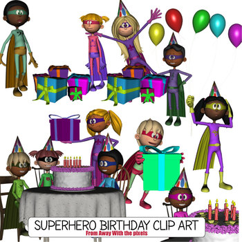 Superhero and Kids Birthday Clip Art from Away With The Pixels
