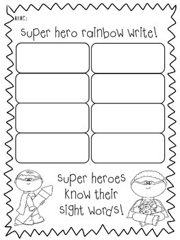Superhero and Princess Rainbow Write FREEBIE