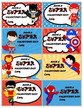 Superhero and Princess Valentine Cards