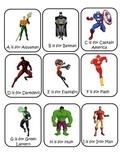 Superhero and Villain ABC cards