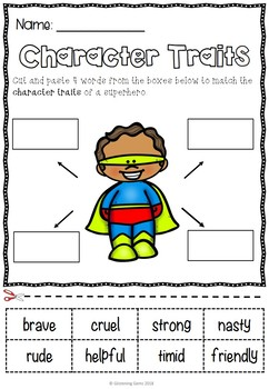 Superhero and Villain - Character Trait Activities Pack
