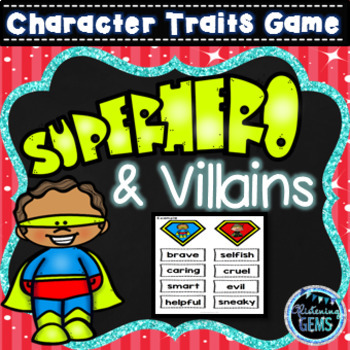 Superhero And Villain Character Traits Game By Glistening Gems Tpt