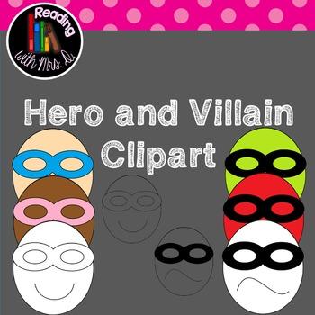 Superhero and Villain face clipart