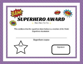 Superhero award
