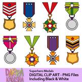Superhero award medals clip art
