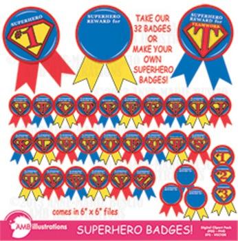 Superhero Clipart, Awards, Rewards and Superhero Badges!  AMB-115