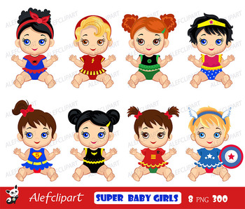 Superhero baby clipart , Superhero Baby Costumes Clip Art, SuperBaby Girls .