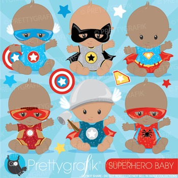 Superhero baby clipart commercial use, graphics, digital c
