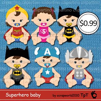 Superhero baby clipart, superbaby clip art ,commercial use-Bundle