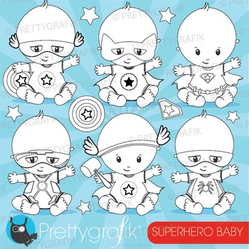 Superhero baby stamps commercial use, vector graphics, images - DS876