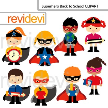 Superhero back to school clip art