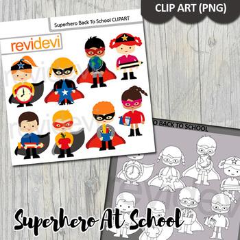 Superhero back to school clipart