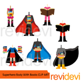 Superhero body with books clip art