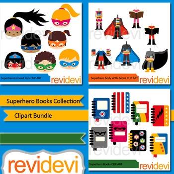Superhero books collection clip art bundle (3 packs)