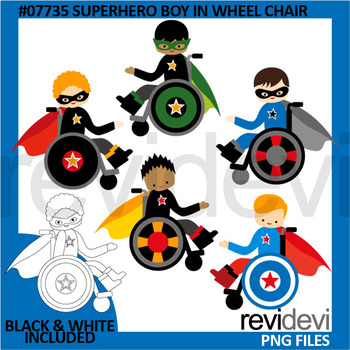 Superhero boy in wheelchair clip art