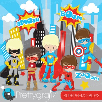 Superhero boys clipart commercial use, graphics, digital clip art - CL883