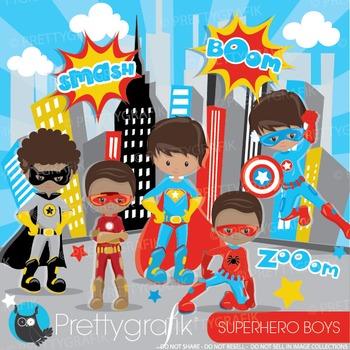 Superhero boys clipart commercial use, graphics, digital clip art - CL887