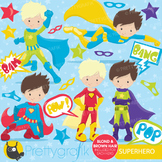 Superhero boys clipart commercial use, vector graphics, digital - CL660