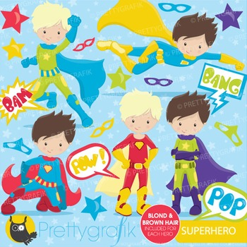 Superhero boys clipart commercial use, vector graphics, di