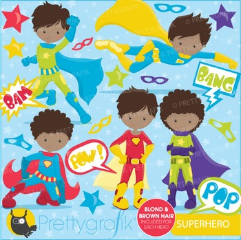 Superhero boys clipart commercial use, vector graphics, digital - CL675