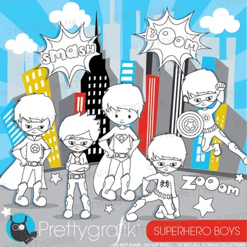 Superhero boys stamps commercial use, vector graphics, images - DS883