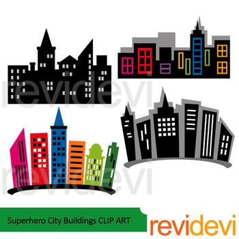 Superhero city buildings clip art