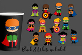 Superhero classmates clip art. Multi racial kids