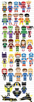 35 files!!! Superhero clip art, superboy, supergirl,Mega set-Bundle