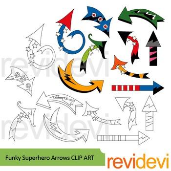 Superhero clip art: Funky superhero arrows clipart