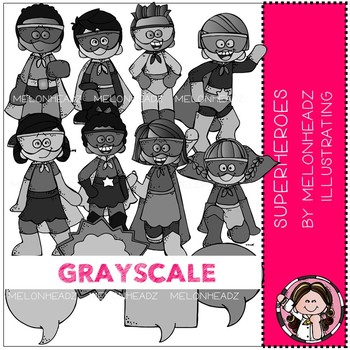 Superhero clip art - Grayscale - Melonheadz clipart