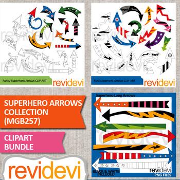 Superhero clip art / Superhero Arrows Collection Bundle