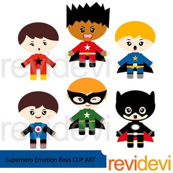 Superhero clip art - Superhero emotion boys