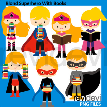 Superhero clipart - Blond Superhero With Books Clip Art