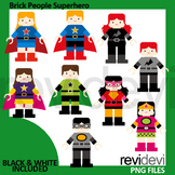 Superhero clipart / Brick people superhero clip art