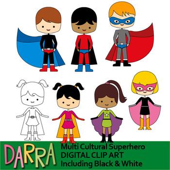 Superhero clipart - Multi Cultural Superhero clip art
