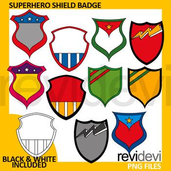 Superhero clipart - Superhero shield badge clip art