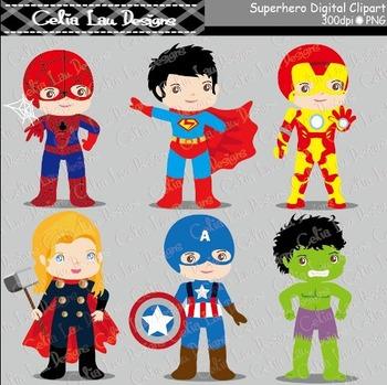 Superhero clipart - Superheroes kid