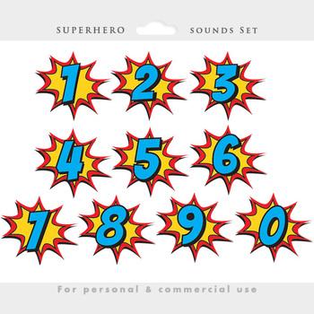 Superhero clipart - comic book clip art, super heroes, sounds, birthday numbers